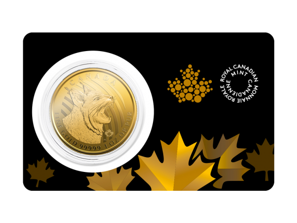 1 oz Gold Bobcat (Gold Maple Leaf) from the Royal Canadian Mint