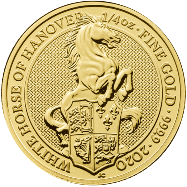 1/4 oz Gold Royal Mint Queen's Beast White Horse 2020